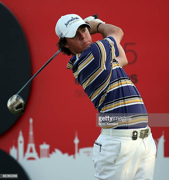 Rory McIlroy of Northern Ireland on the 18th hole during the third round of the Dubai World Championship on the Earth Course Jumeriah Golf Estates on...