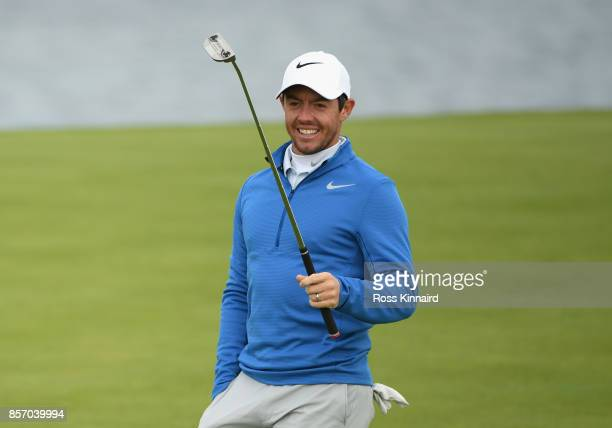 Rory McIlroy of Northern Ireland on the 5th during practice prior to the 2017 Alfred Dunhill Links Championship at Kingsbarns on October 3 2017 in St...
