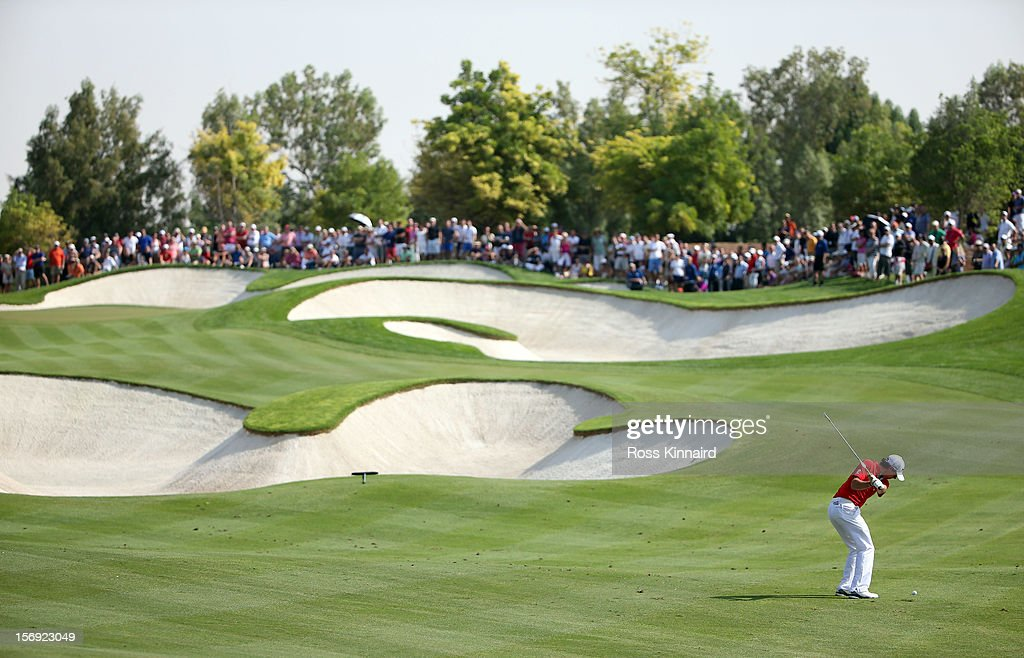 Rory McIlroy of Northern Ireland on the 5th fairway during the final round the DP World Tour Championship on the Earth Course at Jumeirah Golf Estates on November 25, 2012 in Dubai, United Arab Emirates.