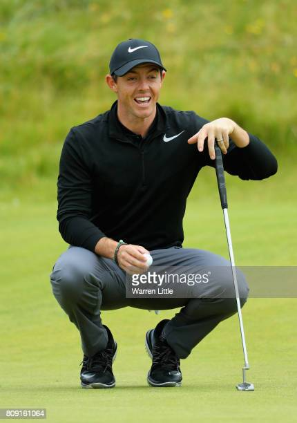 Rory Mcilroy of Northern Ireland on the 5th green during the ProAm of the Dubai Duty Free Irish Open at Portstewart Golf Club on July 5 2017 in...
