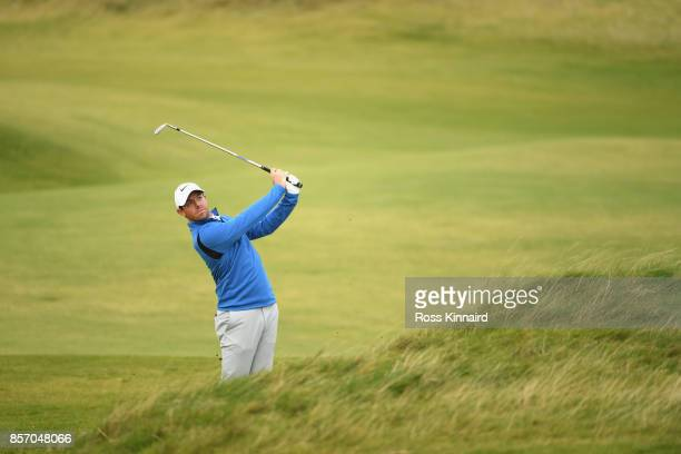Rory McIlroy of Northern Ireland on the 7th during practice prior to the 2017 Alfred Dunhill Links Championship at Kingsbarns on October 3 2017 in St...