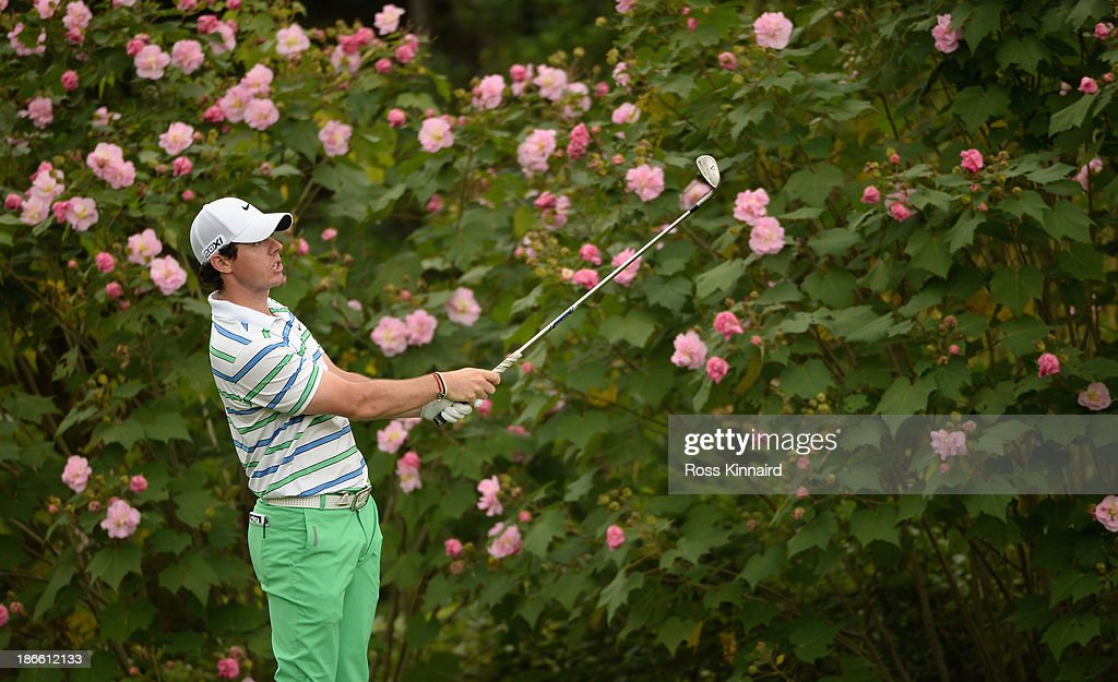 <a gi-track='captionPersonalityLinkClicked' href=/galleries/search?phrase=Rory+McIlroy&family=editorial&specificpeople=783109 ng-click='$event.stopPropagation()'>Rory McIlroy</a> of Northern Ireland on the 8th hole during the third round of the WGC - HSBC Champions at the Sheshan International Golf Club on November 2, 2013 in Shanghai, China.