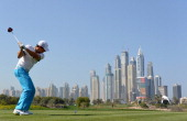 Rory McIlroy of Northern Ireland on the 8th tee during the first round of the Omega Dubai Desert Classic on the Majlis course at the Emirates Golf...