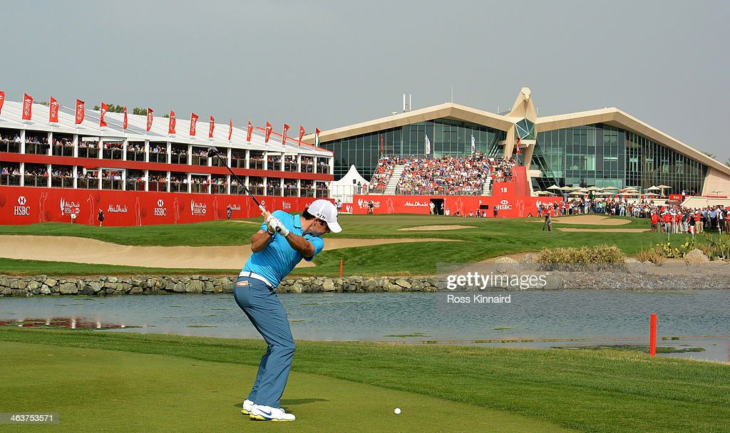 Rory McIlroy of Northern Ireland on the par five 18th hole during the final round of the Abu Dhabi HSBC Golf Championship at the Abu Dhabi Golf Club...