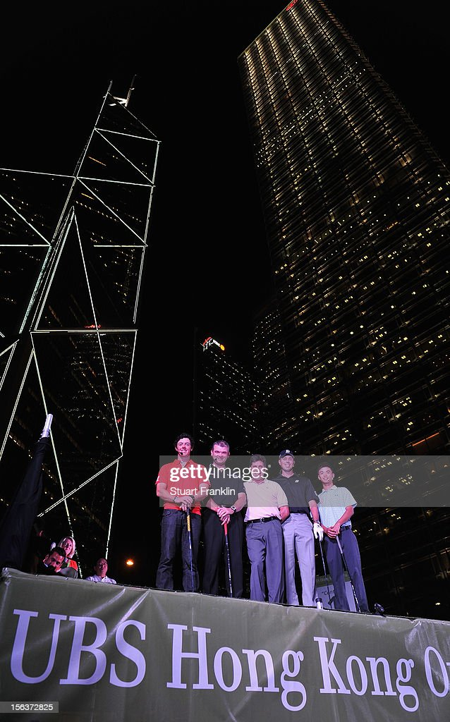 Rory McIlroy of Northern Ireland, Paul Lawrie of Scotland, Jose Maria Olazabal of Spain, Matt Kuchar of USA and Steven Kam of Hong Kong look on during the urban golf challenge prior to the start of the UBS Hong Kong open at charter gardens on November 14, 2012 in Hong Kong, Hong Kong.