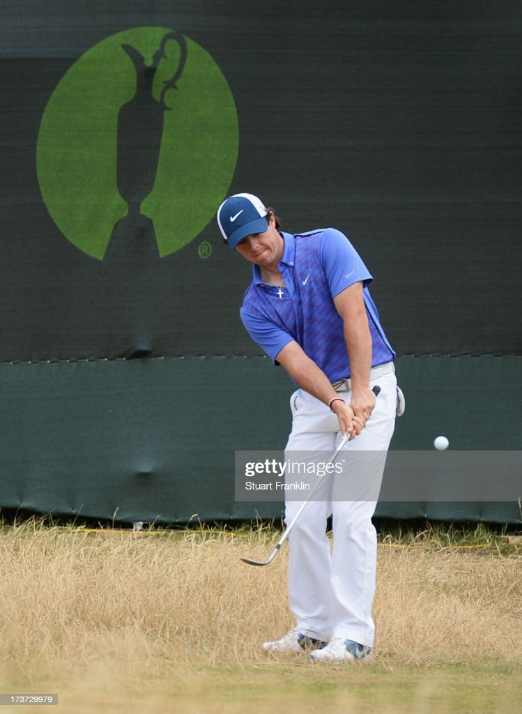 Rory McIlroy of Northern Ireland plays a chip shot ahead of the 142nd Open Championship at Muirfield on July 17, 2013 in Gullane, Scotland.