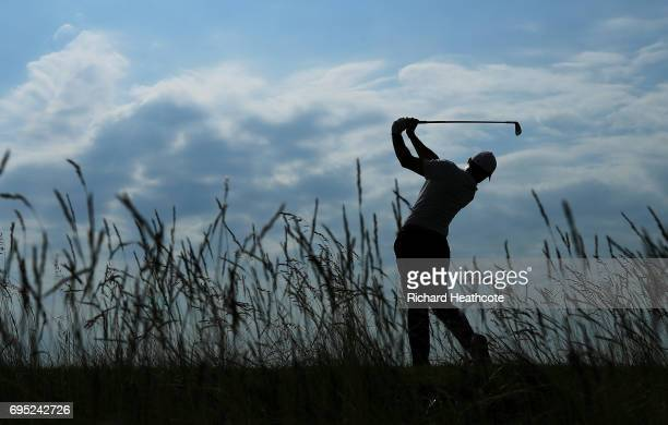Rory McIlroy of Northern Ireland plays a shot during a practice round prior to the 2017 US Open at Erin Hills on June 12 2017 in Hartford Wisconsin
