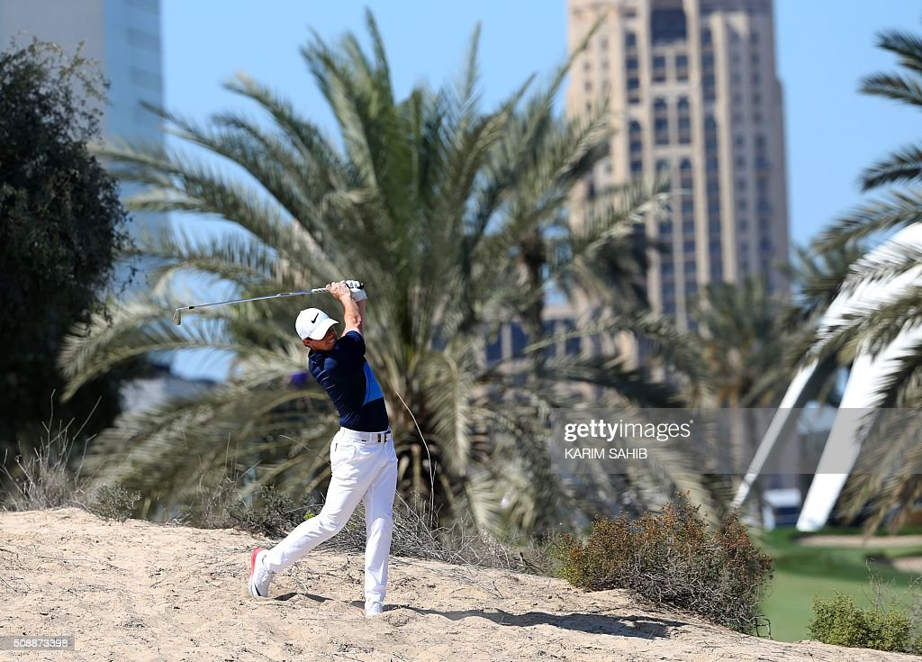 Rory McIlroy of Northern Ireland plays a shot during the final round of the 2016 Dubai Desert Classic at the Emirates Golf Club in Dubai on February 7, 2016. SAHIB
