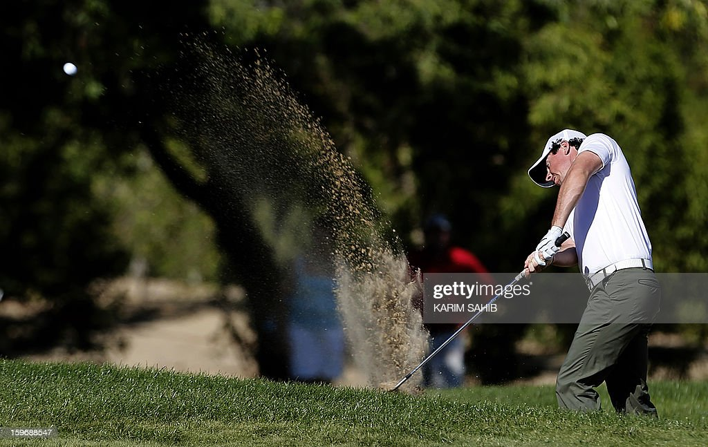 Rory McIlroy of Northern Ireland plays a shot during the second round of the Abu Dhabi Golf Championship at the Abu Dhabi Golf Club in the Emirati capital on January 18, 2013.