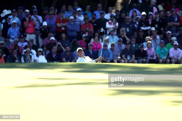 Rory McIlroy of Northern Ireland plays a shot during the third round of the 2017 Masters Tournament at Augusta National Golf Club on April 8 2017 in...