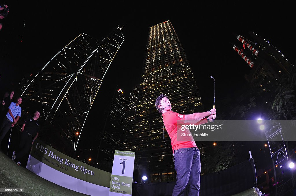 Rory McIlroy of Northern Ireland plays a shot during the urban golf challenge prior to the start of the UBS Hong Kong open at charter gardens on November 14, 2012 in Hong Kong, Hong Kong.
