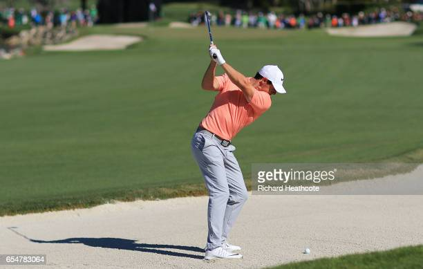 Rory McIlroy of Northern Ireland plays a shot from a bunker on the third hole during the third round of the Arnold Palmer Invitational Presented By...