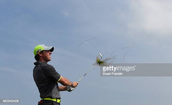 Rory McIlroy of Northern Ireland plays a shot from the rough on the fifth hole during the second round of The 143rd Open Championship at Royal...