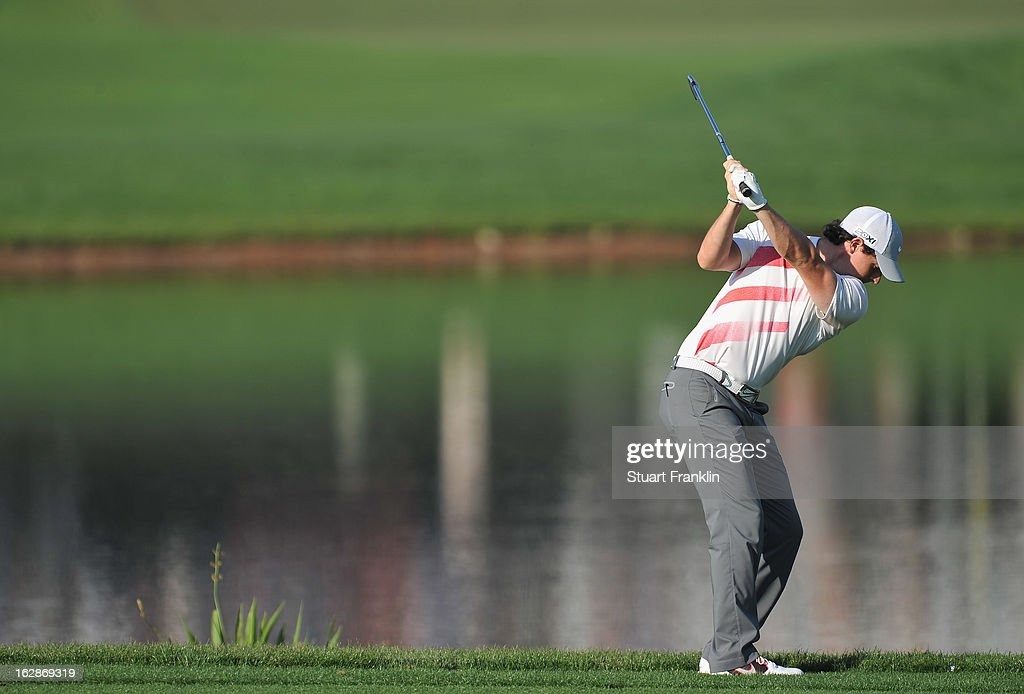 Rory McIlroy of Northern Ireland plays a shot on the 16th hole during the first round of the Honda Classic on February 28, 2013 in Palm Beach Gardens, Florida.