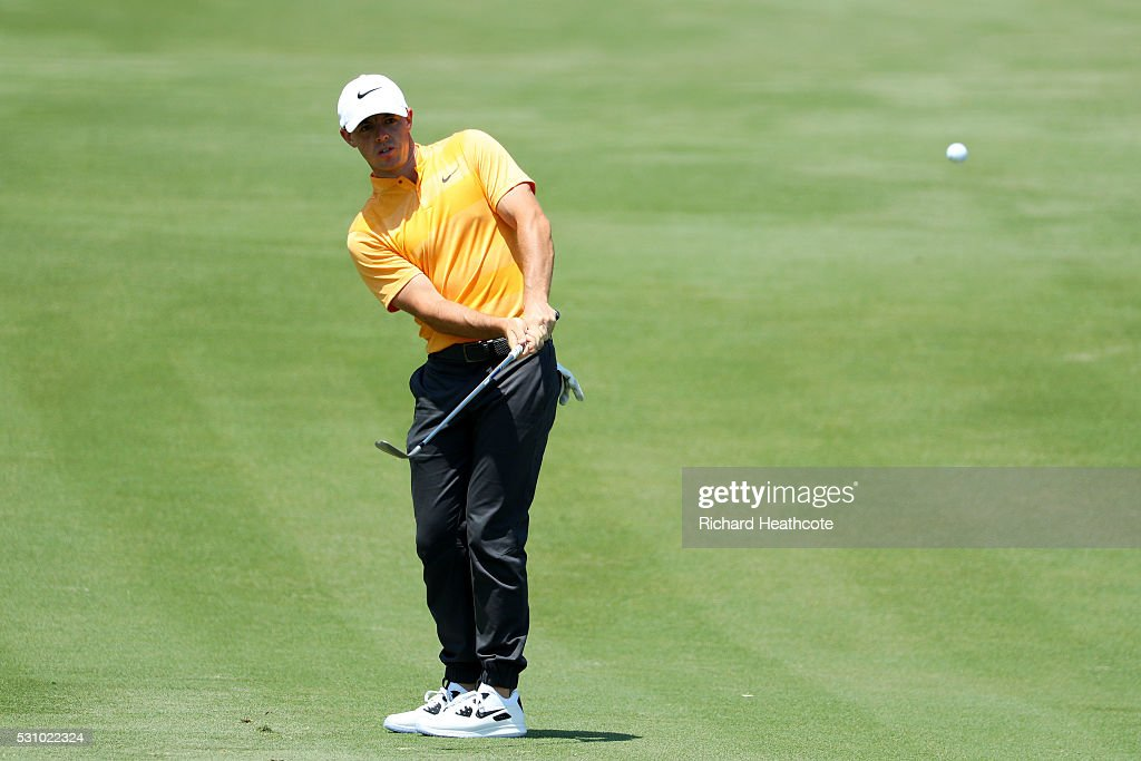 Rory McIlroy of Northern Ireland plays a shot on the second hole during the first round of THE PLAYERS Championship at the Stadium course at TPC...