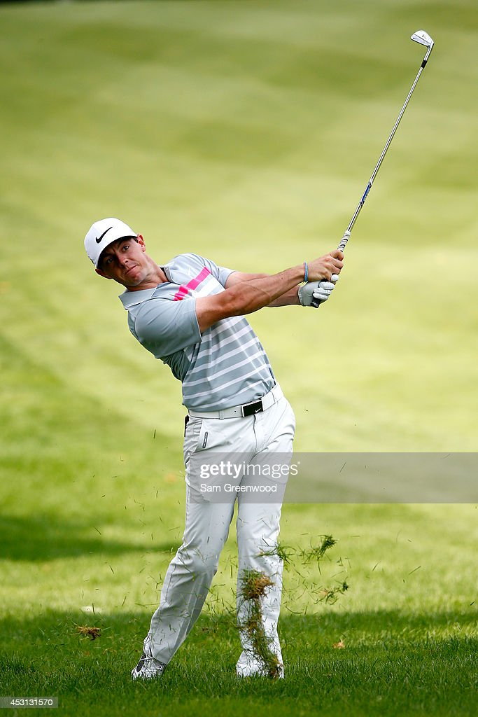 Rory McIlroy of Northern Ireland plays a shot on the sixth hole during the final round of the World Golf Championships-Bridgestone Invitational at Firestone Country Club South Course on August 3, 2014 in Akron, Ohio.