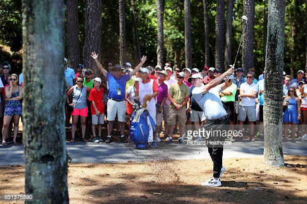 Rory McIlroy of Northern Ireland plays a shot on the sixth hole during the third round of THE PLAYERS Championship at the Stadium course at TPC...