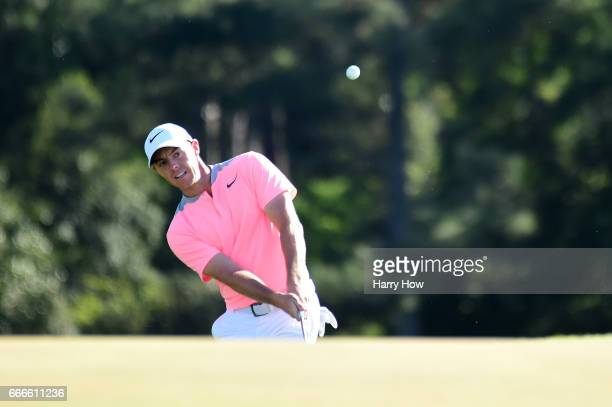 Rory McIlroy of Northern Ireland plays a shot to the 18th green during the final round of the 2017 Masters Tournament at Augusta National Golf Club...