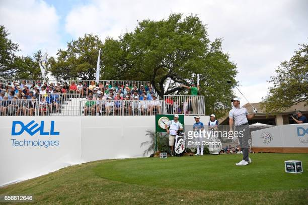 Rory McIlroy of Northern Ireland plays from the first tee during the first round of the World Golf Championships Dell Technologies Match Play at...