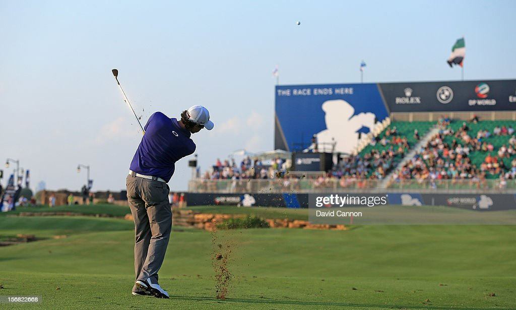 <a gi-track='captionPersonalityLinkClicked' href=/galleries/search?phrase=Rory+McIlroy&family=editorial&specificpeople=783109 ng-click='$event.stopPropagation()'>Rory McIlroy</a> of Northern Ireland plays his fourth shot to the par 5, 18th hole during the first round of the 2012 DP World Tour Championship on the Earth Course at Jumeirah Golf Estates on November 22, 2012 in Dubai, United Arab Emirates.