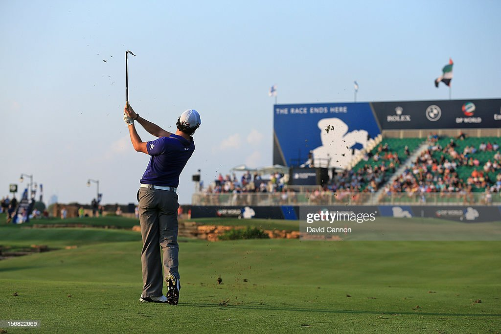 Rory McIlroy of Northern Ireland plays his fourth shot to the par 5, 18th hole during the first round of the 2012 DP World Tour Championship on the Earth Course at Jumeirah Golf Estates on November 22, 2012 in Dubai, United Arab Emirates.