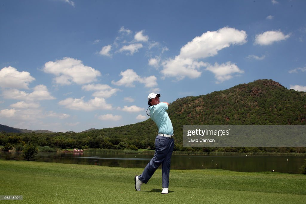 Rory McIlroy of Northern Ireland plays his second shot at the 17th hole during the pro-am as a preview for the 2009 Nedbank Golf Challenge at the Gary Player Country Club Course on December 2, 2009 in Sun City, South Africa.