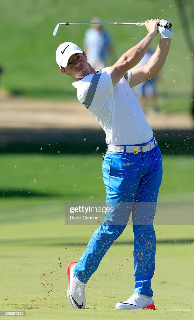 <a gi-track='captionPersonalityLinkClicked' href=/galleries/search?phrase=Rory+McIlroy&family=editorial&specificpeople=783109 ng-click='$event.stopPropagation()'>Rory McIlroy</a> of Northern Ireland plays his second shot at the par 4, first hole during the third round of the 2016 Omega Dubai Desert Classic on the Majlis Course at the Emirates Golf Club on February 6, 2016 in Dubai, United Arab Emirates.
