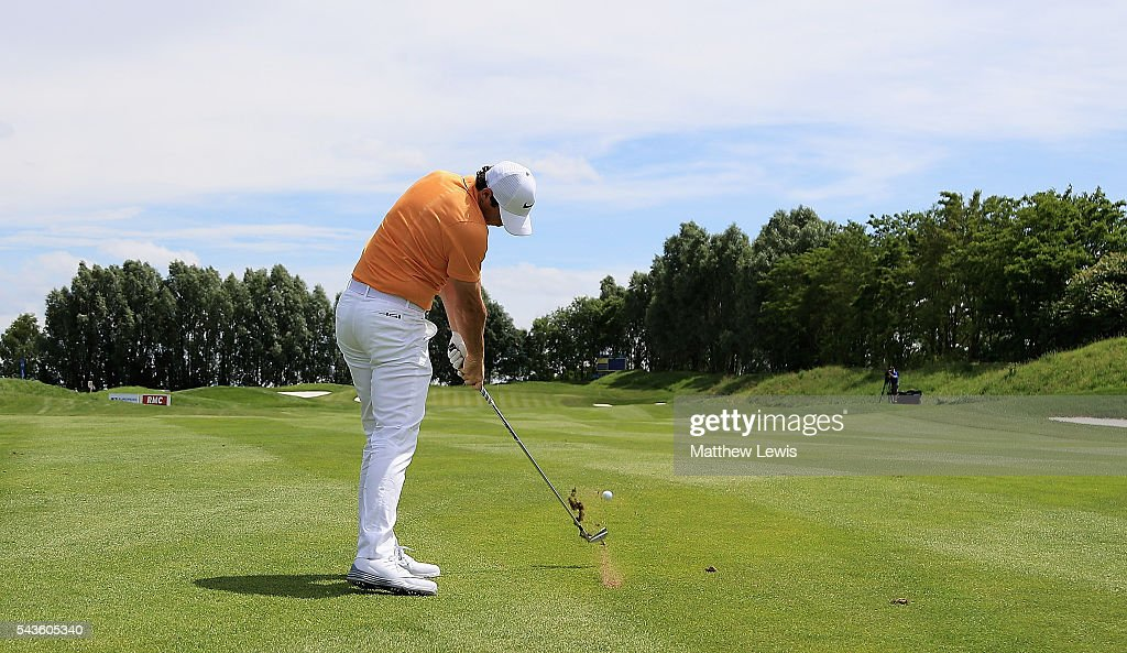 Rory McIlroy of Northern Ireland plays his second shot from the 4th fairway during a pro-am round ahead of the 100th Open de France at Le Golf National on June 29, 2016 in Paris, France.