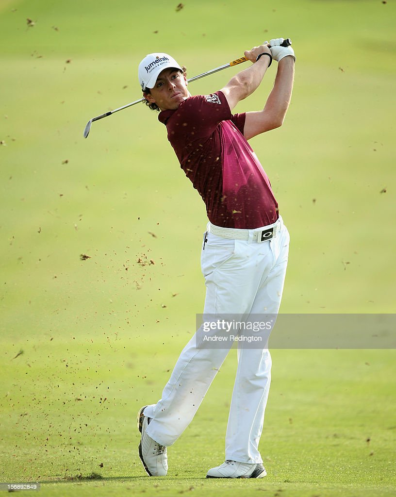 <a gi-track='captionPersonalityLinkClicked' href=/galleries/search?phrase=Rory+McIlroy&family=editorial&specificpeople=783109 ng-click='$event.stopPropagation()'>Rory McIlroy</a> of Northern Ireland plays his second shot on the 12th hole during the third round of the DP World Tour Championship on the Earth Course at Jumeirah Golf Estates on November 24, 2012 in Dubai, United Arab Emirates.
