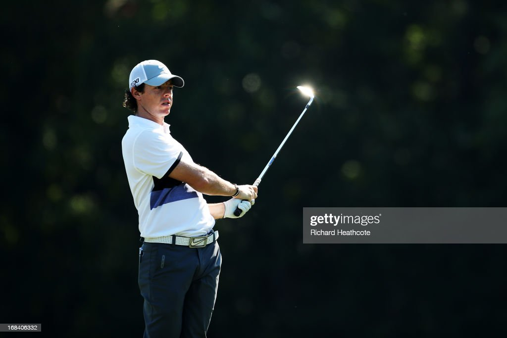 Rory McIlroy of Northern Ireland plays his second shot on the 14th hole during round one of THE PLAYERS Championship at THE PLAYERS Stadium course at TPC Sawgrass on May 9, 2013 in Ponte Vedra Beach, Florida.