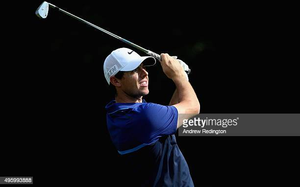 Rory McIlroy of Northern Ireland plays his second shot on the 15th hole during the second round of the WGC HSBC Champions at the Sheshan...