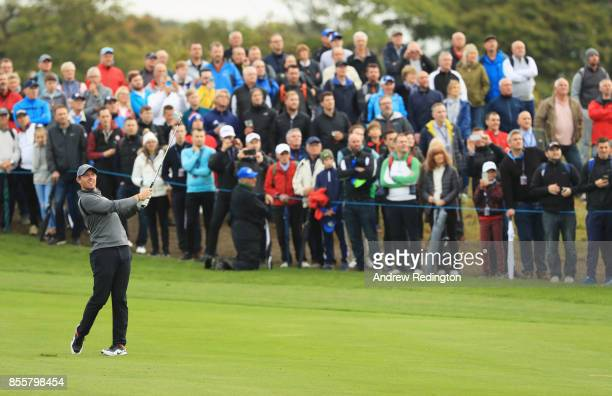 Rory McIlroy of Northern Ireland plays his second shot on the 2nd hole during day three of the British Masters at Close House Golf Club on September...