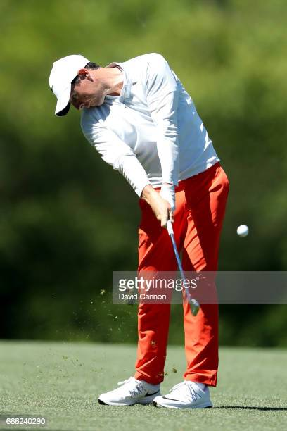Rory McIlroy of Northern Ireland plays his second shot on the fifth hole during the third round of the 2017 Masters Tournament at Augusta National...