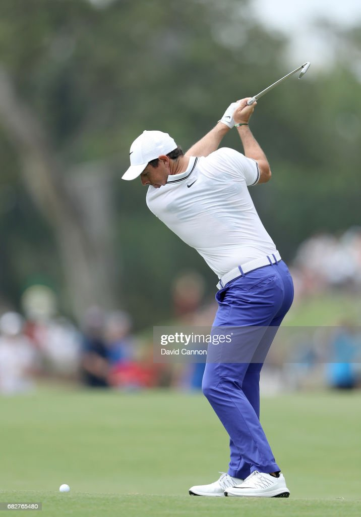 Rory McIlroy of Northern Ireland plays his second shot on the par 5, 16th hole during the third round of the THE PLAYERS Championship on the Stadium Course at TPC Sawgrass on May 13, 2017 in Ponte Vedra Beach, Florida.