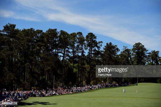 Rory McIlroy of Northern Ireland plays his second shot on the second hole during the final round of the 2017 Masters Tournament at Augusta National...