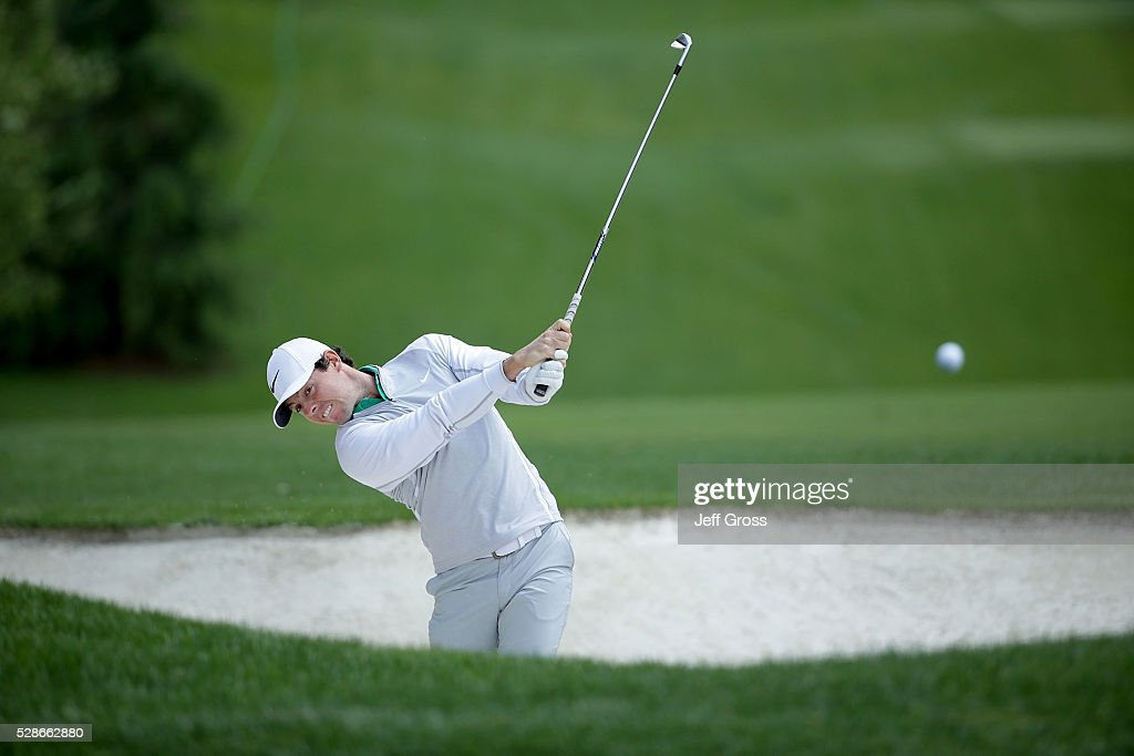 Rory McIlroy of Northern Ireland plays his second shot out of a fairway bunker on the fourth hole during the second round of the Wells Fargo Championship at Quail Hollow Club on May 6, 2016 in Charlotte, North Carolina.