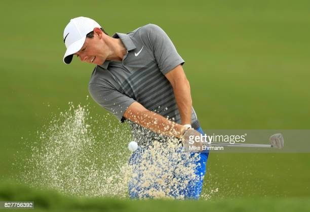 Rory McIlroy of Northern Ireland plays his shot during a practice round prior to the 2017 PGA Championship at Quail Hollow Club on August 8 2017 in...
