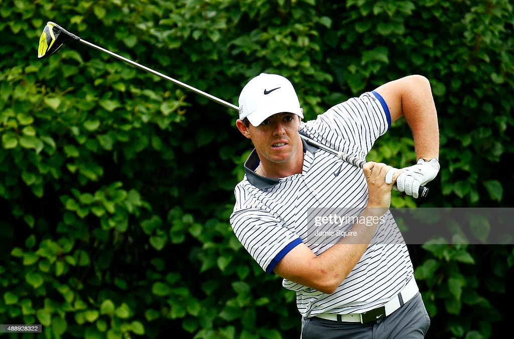 Rory McIlroy of Northern Ireland plays his shot from the 13th tee during the Second Round of the BMW Championship at Conway Farms Golf Club on September 18, 2015 in Lake Forest, Illinois.