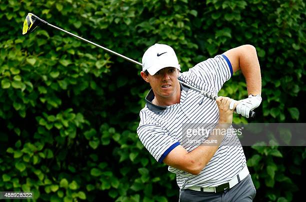 Rory McIlroy of Northern Ireland plays his shot from the 13th tee during the Second Round of the BMW Championship at Conway Farms Golf Club on...