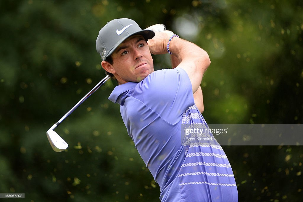 <a gi-track='captionPersonalityLinkClicked' href=/galleries/search?phrase=Rory+McIlroy&family=editorial&specificpeople=783109 ng-click='$event.stopPropagation()'>Rory McIlroy</a> of Northern Ireland plays his shot from the second tee during the second round of The Barclays at The Ridgewood Country Club on August 22, 2014 in Paramus, New Jersey.