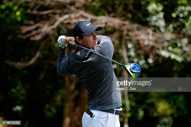 Rory McIlroy of Northern Ireland plays his shot from the second tee during the first round of the 2016 Masters Tournament at Augusta National Golf...