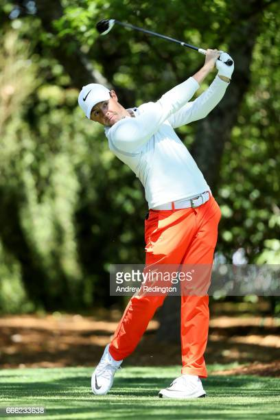 Rory McIlroy of Northern Ireland plays his shot from the second tee during the third round of the 2017 Masters Tournament at Augusta National Golf...
