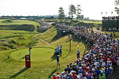 Rory McIlroy of Northern Ireland plays his shot from the tenth tee during the second round of the 2015 PGA Championship at Whistling Straits on...