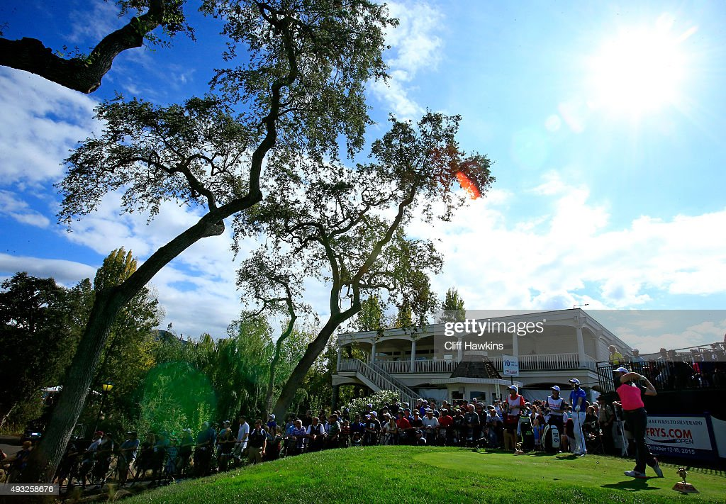 Rory McIlroy of Northern Ireland plays his shot from the tenth tee during the final round of the Frys.com Open on October 18, 2015 at the North Course of the Silverado Resort and Spa in Napa, California.