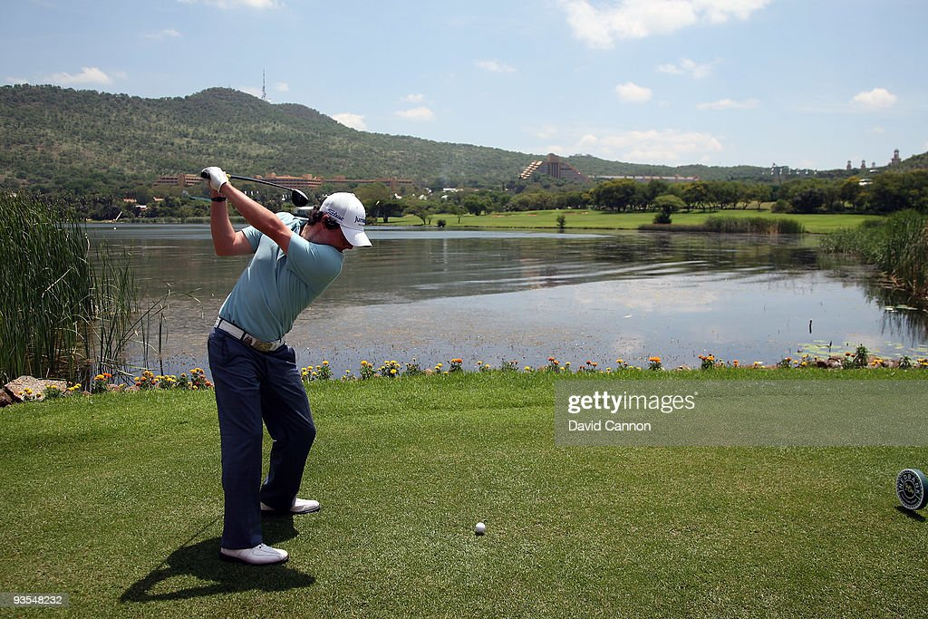 Rory McIlroy of Northern Ireland plays his tee shot at the 17th hole during the pro-am as a preview for the 2009 Nedbank Golf Challenge at the Gary Player Country Club Course on December 2, 2009 in Sun City, South Africa.