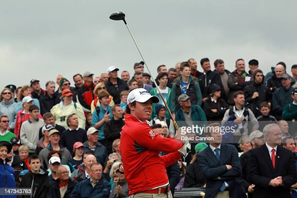Rory McIlroy of Northern Ireland plays his tee shot at the par 4 1st hole during the first round of the 2012 Irish Open held on the Dunluce Links at...