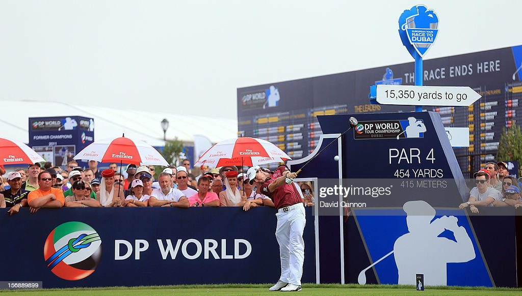 <a gi-track='captionPersonalityLinkClicked' href=/galleries/search?phrase=Rory+McIlroy&family=editorial&specificpeople=783109 ng-click='$event.stopPropagation()'>Rory McIlroy</a> of Northern Ireland plays his tee shot at the par 4, 1st hole during the third round of the 2012 DP World Tour Championship on the Earth Course at Jumeirah Golf Estates on November 24, 2012 in Dubai, United Arab Emirates.