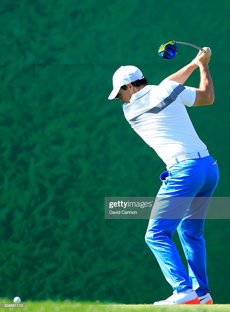 <a gi-track='captionPersonalityLinkClicked' href=/galleries/search?phrase=Rory+McIlroy&family=editorial&specificpeople=783109 ng-click='$event.stopPropagation()'>Rory McIlroy</a> of Northern Ireland plays his tee shot at the par 4, second hole during the third round of the 2016 Omega Dubai Desert Classic on the Majlis Course at the Emirates Golf Club on February 6, 2016 in Dubai, United Arab Emirates.