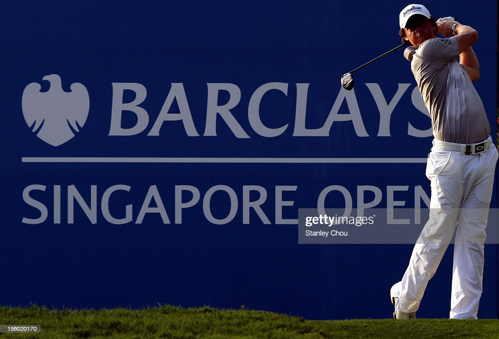Rory McILroy of Northern Ireland plays his tee shot on the 10th hole during the fourth round of the Barclays Singapore Open at the Sentosa Golf Club on November 11, 2012 in Singapore.