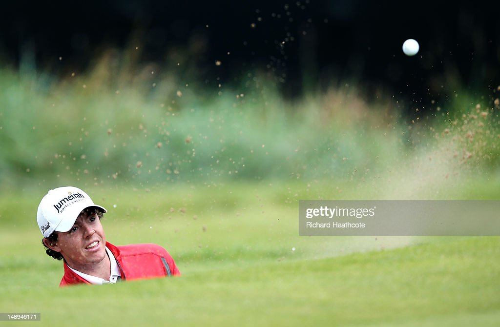 <a gi-track='captionPersonalityLinkClicked' href=/galleries/search?phrase=Rory+McIlroy&family=editorial&specificpeople=783109 ng-click='$event.stopPropagation()'>Rory McIlroy</a> of Northern Ireland plays his third shot from a bunker on the ninth hole during the second round of the 141st Open Championship at Royal Lytham & St Annes Golf Club on July 20, 2012 in Lytham St Annes, England.